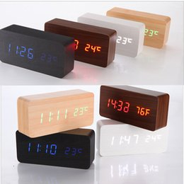 Wholesale 2015 Wood Digita Alarm Clock LED Alarm Clock Despertador Temperature Sounds Control LED Night Lights Electronic Desktop Digital Table Clocks