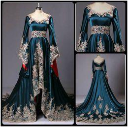 Real Photos 2020 Dubai Kaftan Appliqued Long Evening Dresses Caftan Abaya In Dubai Long Sleeve Arabic Dress Muslim Evening Dress