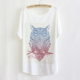 Wholesale 2015 New fashion owl print element women t shirt cartoon Gradient printing female t shirt white t shirt free size top tee tshirt FG1510