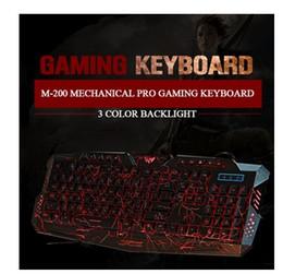 Wholesale 3 Color Backlight M200 Mechanical Pro Gaming Keyboard el teclado Gamer LOL DOta USB Powered Full N Key Computer Peripherals