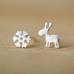 925 Sterling Silver Christmas Plugback Baby Girls Earrings Snowflake Deer