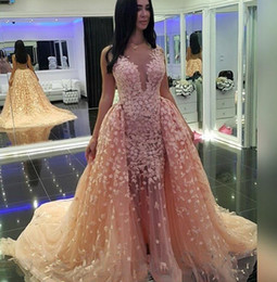 Zuhair Murad Evening Dresses Lace Backless Coral Overskirt Celebrity Party Gowns A Line V Neck Sweep Train Custom Made
