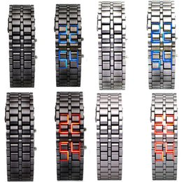 Wholesale new listing pcsFashion Men Women Lava Iron Samurai Metal LED Faceless Bracelet Watch Wristwatch to hot sale