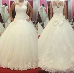 Wholesale Illusion High Neck White Lace Wedding Dresses Plus size Sleeveless Bodice Corset Back Bow Tie A line Bridal Gowns Custom Made