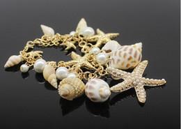 Wholesale Starfish Charm Bracelets Seashell Conch Pearl Jewelry Vintage Bangle Bracelets