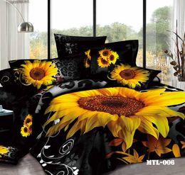 Wholesale 2015 New Cotton Sunflower Printing D Bedding Set Full Queen King Size Comforter Set Duvet Cover Bed Sheet Bedding Supplies