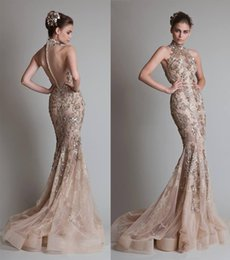 champagne mermaid evening dresses 2017 krikor jabotian high neck organza with silver sequins and lace appliques sheer back