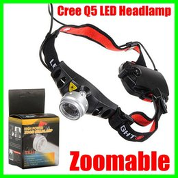 Wholesale Cordless Mining Head lamp CREE Q5 LED Lamp Head light Torch Headlamp Zoomable for Camping Hiking Hunting