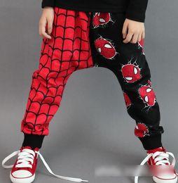 Autumn Cotton Casual Harem Pants New 2015 Spring Spider-Man Printed Children Boys Trousers Cartoon Fashion Child Harem Trousers 5pcs L2082