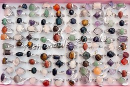 Rings Natural Assorted Gemstone stone Silver Plated Rings 17-19mm [R0286*50]
