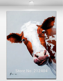 Lovely Bull - Hand-painted Oil Painting On Canvas Cartoon Animal Wall Art Modern Abstract Home Mural Decoration