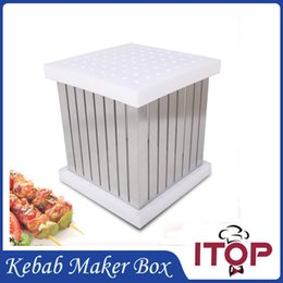 Wholesale BBQ Holes Kebab Maker Box Stainless Steel Rapid Wear Meat Brochette Express High Efficiency Metal Craft Making Machine