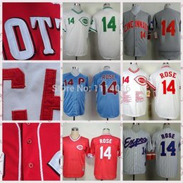 30 Teams- Sttiched name and logo blue #14 pete rose jersey Cheap Sale blue white grey vintage 1969 pete rose baseball jersey