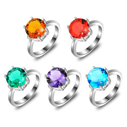Wholesale Mix Color Holiday Jewelry Gift Newest Round Amethyst Quartz Blue Topaz Citrine Gemstone Sterling Silver Plated Ring R0671675