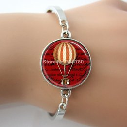 Wholesale fire balloon bangle Red Book Pages Art Pendant bangle silver glass Cabochom charm bracelets hot gift for firends GL011