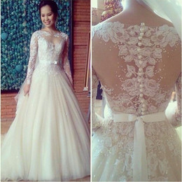 2016 A-Line Wedding Dresses Free Shipping High Quality Appliques Pattern Beaded Puffy Lace Long Sleeve Wedding Dress