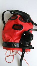 Newest Soft leather bondage Hood Mask With detachable eyepatch SILICONE dildo Mouth Plug Headgear BDSM Sex product toys red black