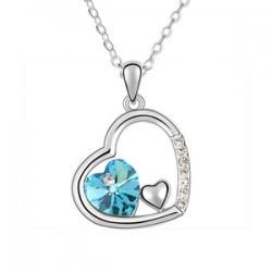 fashion 925 Silver Plated Necklace jewelry Austrian crystal heart shaped Pendant necklace for women Gilr Many colors