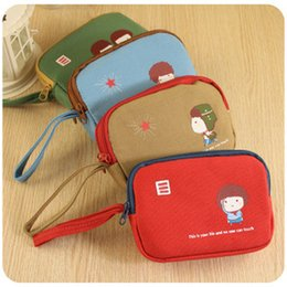 C03-4-09 Korea captain child cute double zipper canvas purse   Wallets