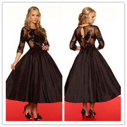 2019 new arrival collection black lace with taffeta crew formal evening dresses ankle length new design fashion gowns high quality