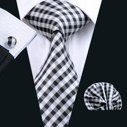 Silk Mens Tie Set Black Plaid Pocket Square Cufflinks Classic Silk Jacquard Woven Meeting Business Casual Necktie N-1024