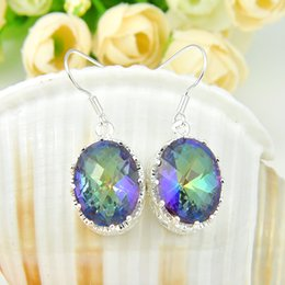 Wholesale Pairs Classic Jewelry Fire Colored Mystic Topaz Crystal Gemstone Sterling Silver Plated USA Drop Wedding Earrings