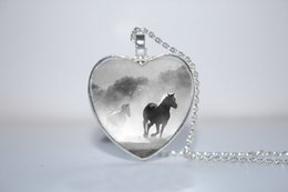 Wholesale 10pcs Horse in Fog Heart Pendant Horse Jewelry Horse Heart Pendant Heart Necklace Glass Photo Cabochon Necklace