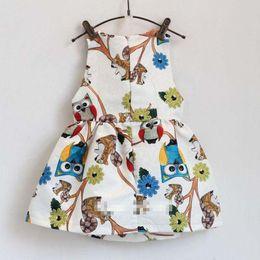 Wholesale Summer Girls owl gallus dress new Lovely Girl s Sleeveless dress baby clothes B001