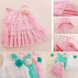 Livraison gratuite Enfants Bébés filles nourrissons à volants de dentelle robe Sling Layered florales douces Tutu Dress vêtements pour enfants A5 à partir de dentelle en couches robe tutu enfants fabricateur