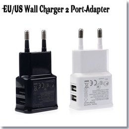 Wholesale Dual Port USB Home Wall Charger V A EU Plug USB AC Power Supply Adapter For Iphone s Galaxy S4 s5