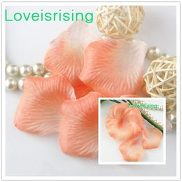 Tracking number--10 packs(1440pcs) Peach Non-Woven Fabric Artificial Rose Flower Petal For Wedding Party Favor Decor