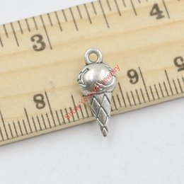 Wholesale 25pcs Antique Silver Tone Ice Cream Charms Pendants for Jewelry Making DIY Handmade Craft x9mm A309 Jewelry making DIY