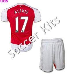 Wholesale Kids soccer jersey home red away golden Ozil Wilshere Giroud Alexis Sanchez survetement Football Arsenales Soccer Kit Uniform jerseys