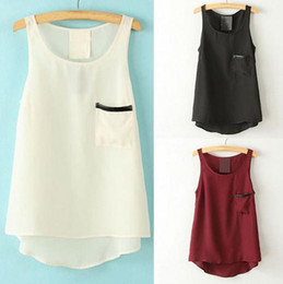 Women chiffon Tops Tees sheer Blouses Shirts fashion sexy lady solid color leather pocket vest plus size summer beach clothing gift