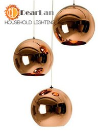 Wholesale Modern Classic Fashion Tom Dixon Glass Copper Silver Mirror Shade Ball Lights E27 LED Christmas Pendant Lamps For Dining Rooms