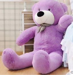 Wholesale New arrival FEET TEDDY BEAR STUFFED LIGHT BROWN GIANT JUMBO quot cm birthday gift purple colour choose