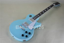 Custom guitar shop,light blue color OEM handmade 1959 standard chrome hardware electric guitar,free shipping