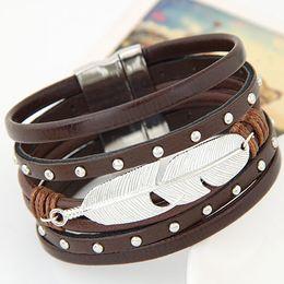 Wholesale European Fashion Punk Metal Feather Leather Rivet Magnetic Bracelet For Women Black Brown Kehaki New