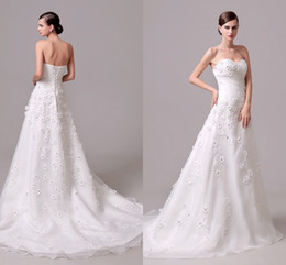 Elegant Hand Made Flower Wedding Dress With Crystal A Line Sweep Train Back Corset organza Vestidos de Novia Cheap Real Picture Bridal Gowns
