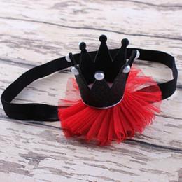 Glitter Crown Headband for girls ,Black Red Pearl Lace Baby Headband ,baby birthday crown headband ,newborn baby birthday crown