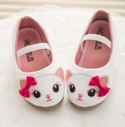 Wholesale Babys Leather Pu Shoes For Girls Spring Autumn Fashion Artificial PU Butterfly Bow Princess Shoes Cartoon Kt Fox Leisure Shoes J4690
