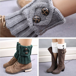 Lady boot cuff Short Knitted Ballet Dance Warm up knitted booty Gaiters Stocking Socks Boot Covers Button Leggings Tight S358M