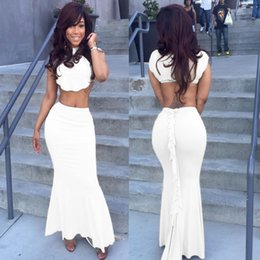 Two Pieces Sexy Prom Dresses 2015 Jewel Mermaid Ruffles Spandex Floor Length Party Evening Gowns Custom made