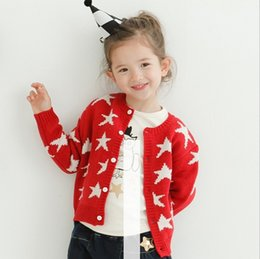 Wholesale Girls Childrens Sweater New Autumn Winter Bow Button Cardigan Hot Sell Fashion Star Long Sleeve Sweater Coat Outerwear ZZ