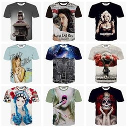 Wholesale Summer Women Men Print HBA Mask actor monster lana del rey galaxy feather lip sexy girl D Tshirt funny T Shirt Plus Size FG1510