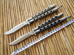 Wholesale THE ONE BM43 Butterfly knife C Blade Balisong Flipper knife Die cast stainless steel handle with nylon sheath