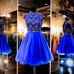 Gorgeous Royal Blue Homecoming Dress tulle beaded high neck prom dress cap short sleeves short party dress vestidos de festa