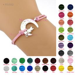 Wholesale Moon and Cat Charm Bracelets Antique Silver Pendants Bracelets Wax Cords Unisex Women Girl Man Fashion Gift Charm Size X18mm
