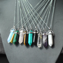 Wholesale Best Quality Natural Stone Bullet Shape Pendant Necklaces Stainless Steel Leather Chains Hexagonal Prism Crystal Jewelry for women men