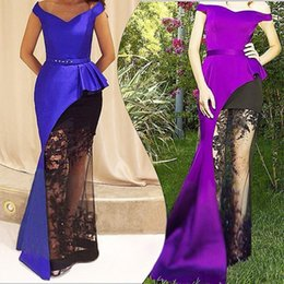 Sexy Mermaid Evening Dresses Royal Blue Black Lace Arabic Prom Formal Gowns 2016 Occasion Dress Trumpet Off-Shoulder Celebrity Custom Made